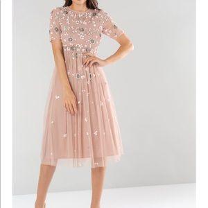Blush dress with floral design